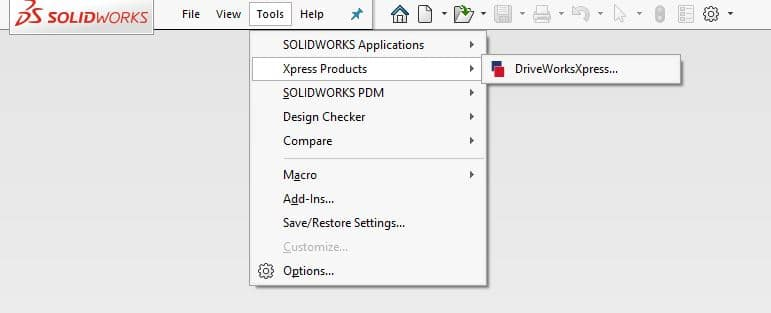 To activate DriveWorksXpress, open SOLIDWORKS and go to Tools, Xpress Products, and select DriveWorksXpress.