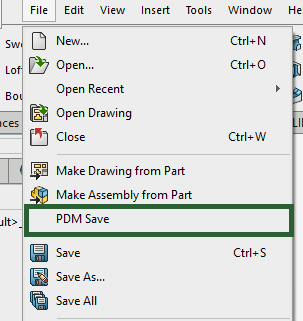 """PDMSave is located in the """"File"""" dropdown within SOLIDWORKS"""
