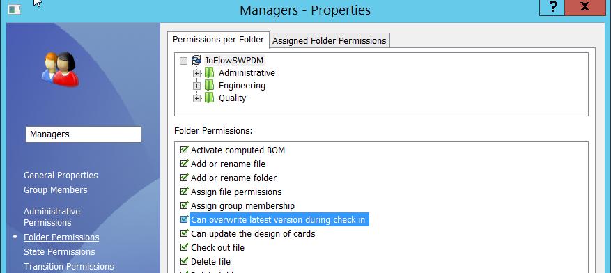 Overwrite Latest Version Folder Permission