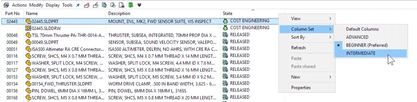 In PDM 2021, quickly change column sets in Windows Explorer with a simple right-click