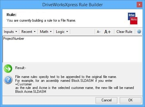 The DriveWorksXpress rule builder in SOLIDWORKS is where the logic for your models is defined.