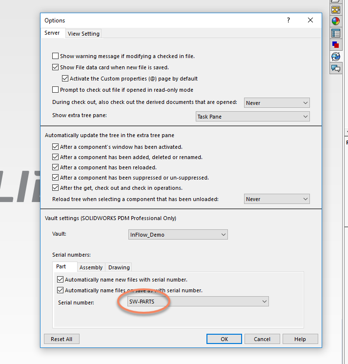 From InFlow: SOLIDWORKS PDM Professional - Automatic Part Numbering