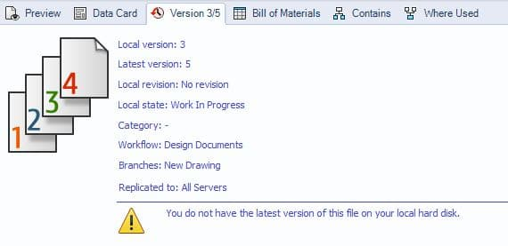 Using the version tab, we can save money by ensuring we're always working on the appropriate version.