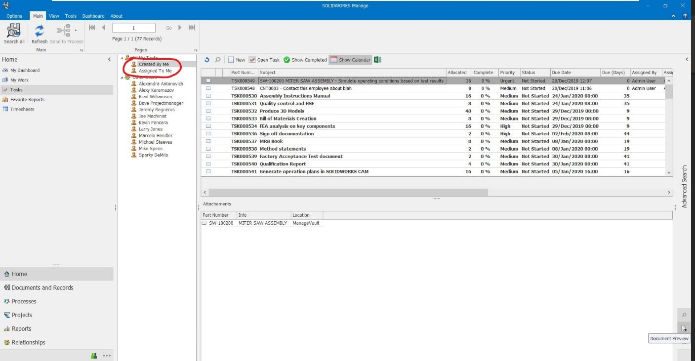 You can see a list of tasks that are created by and assigned to you in your tasks tab, within SOLIDWORKS Manage.