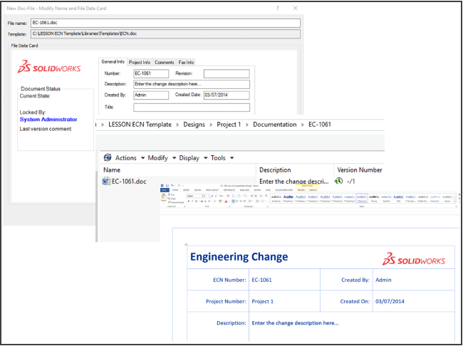 Creating a data card for PDM templates.