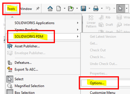 Change your PDM settings when working from home by going to Tools, SOLIDWORKS PDM, and Options.